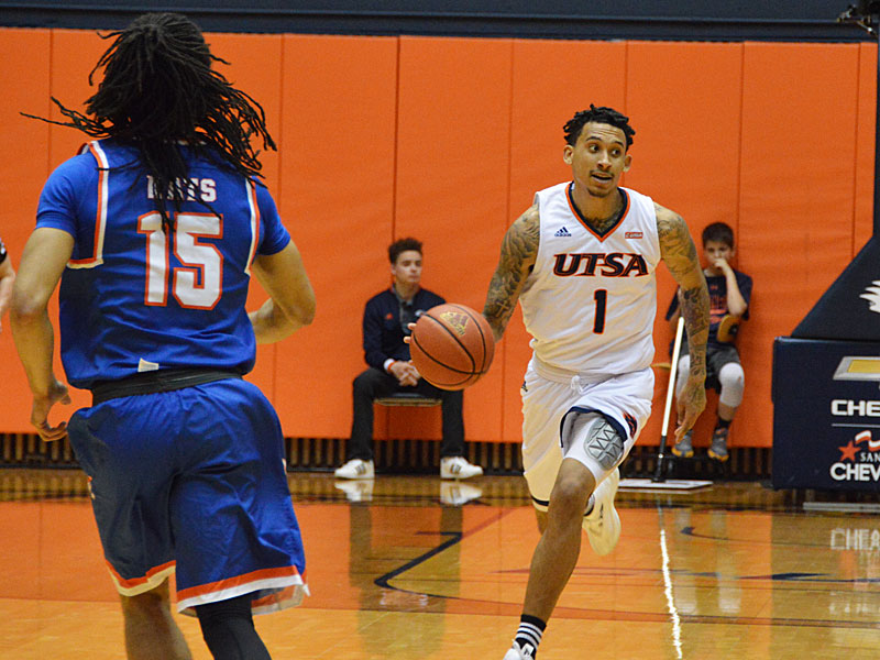 UTSA lost to Sam Houston State on Thursday, March 22, 2018, at the UTSA Convocation Center in the CollegeInsider.com Tournament quarterfinals. UTSA guard Deon Lyle brings the ball up against Sam Houston State.