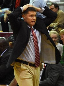 Incarnate Word coach Carson Cunningham expresses his frustration after a call during a 90-64 loss to Northern Colorado on Wednesday, Nov. 21, 2018.
