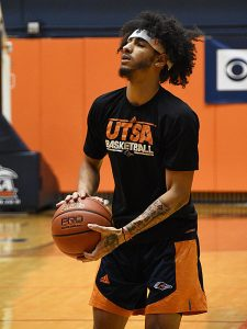 UTSA's Jhivvan Jackson shoots around before the Roadrunners' game against Oklahoma on Monday, Nov. 12, 2018. The sophomore guard has not played yet this season while he rehabs from an injury he suffered last season. - photo by Joe Alexander