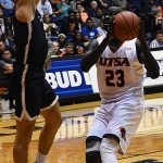 Atem Bior. St. Edward's beat UTSA 77-76 in men's basketball on Wednesday night, Nov. 8, 2018, at the UTSA Convocation Center. - photo by Joe Alexander