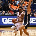 Adokiye Iyaye. St. Edward's beat UTSA 77-76 in men's basketball on Wednesday night, Nov. 8, 2018, at the UTSA Convocation Center. - photo by Joe Alexander