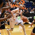 Toby Van Ry. St. Edward's beat UTSA 77-76 in men's basketball on Wednesday night, Nov. 8, 2018, at the UTSA Convocation Center. - photo by Joe Alexander