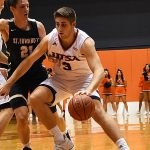 Byron Frohnen. St. Edward's beat UTSA 77-76 in men's basketball on Wednesday night, Nov. 8, 2018, at the UTSA Convocation Center. - photo by Joe Alexander