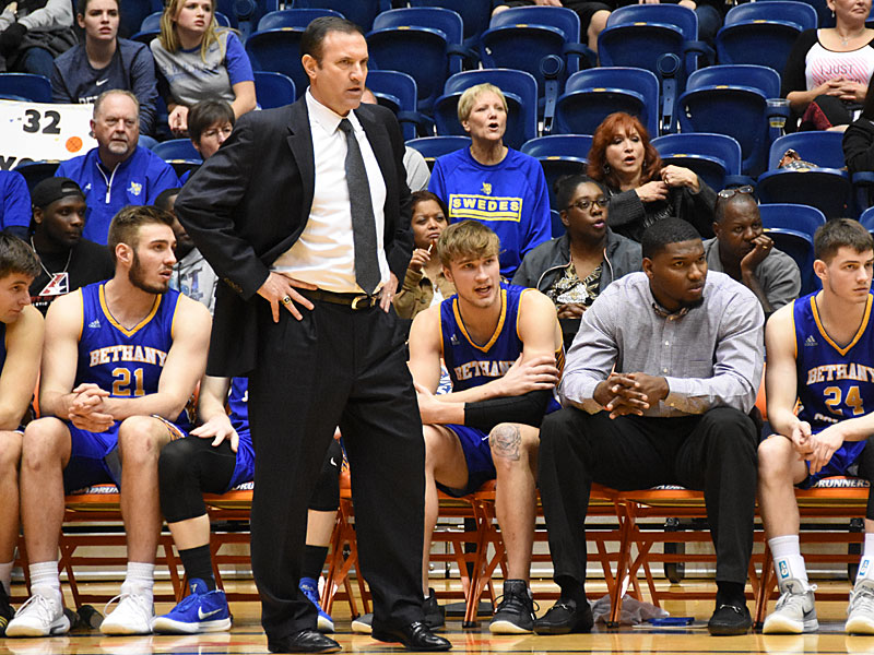 Bethany coach Dan O'Dowd (standing) and assistant coach Edrico McGregor (sitting right) both have ties to UTSA. - photo by Joe Alexander