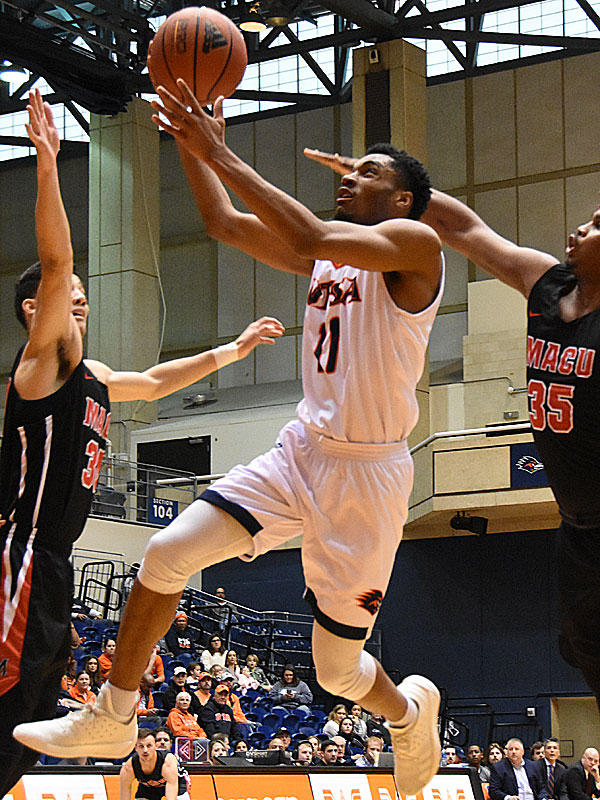 Adokiye Iyaye scored 11 points off the bench as UTSA beat Mid-American Christian 104-74 on Saturday, Dec. 8, 2018, at the UTSA Convocation Center. - photo by Joe Alexander