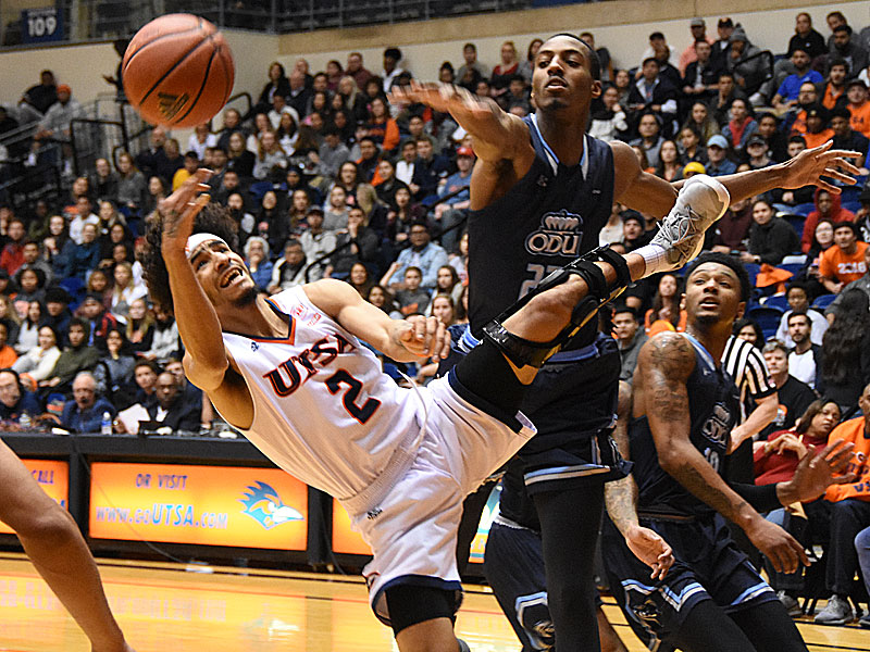 UTSA guard Jhivvan Jackson is fouled as he goes through the lane against Old Dominion on Thursday night at the UTSA Convocation Center. - photo by Joe Alexander