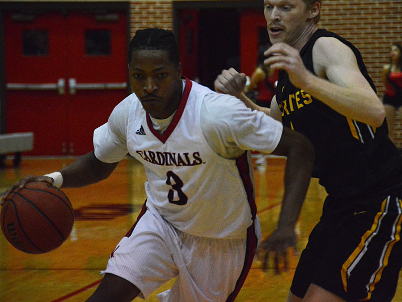 Incarnate Word's Simi Socks (3) drives to the basket. The Incarnate Word men's basketball team opened the season with an 87-71 victory over Southwestern on Friday night. (Joe Alexander / theJBreplay.com)