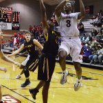 Simi Socks. The Incarnate Word men's basketball team opened the season with an 87-71 victory over Southwestern on Friday night. (Joe Alexander / theJBreplay.com)
