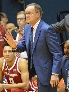 Oklahoma coach Lon Kruger. Oklahoma beat UTSA 87-67 on Monday, Nov. 12, 2018, at the UTSA Convocation Center. - photo by Joe Alexander