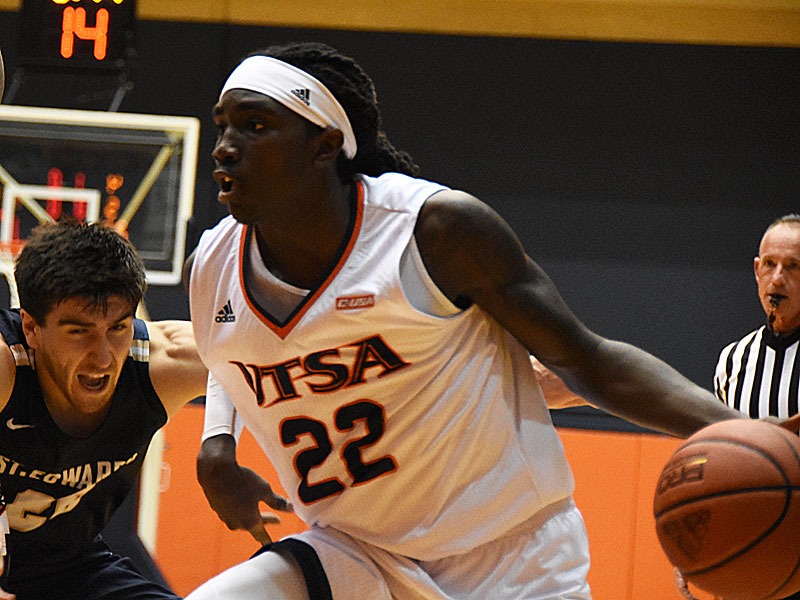 St. Edward's beat UTSA 77-76 in men's basketball on Wednesday night, Nov. 8, 2018, at the UTSA Convocation Center. Keaton Wallace had 15 points for the Roadrunners. - photo by Joe Alexander