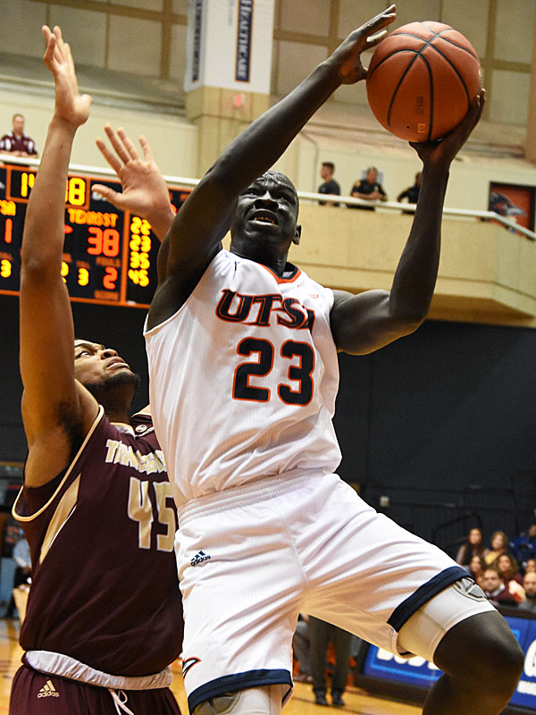 UTSA's Atem Bior goes in  for a shot. Texas State beat UTSA 69-68 on Saturday, Dec. 1, 2018 at the UTSA Convocation Center. - photo by Joe Alexander