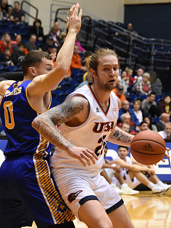 UTSA's Nick Allen played with a sore foot but recorded 12 points and 8 rebounds in 18 minutes in the Roadrunners' 101-77 victory over Bethany on Monday, Dec. 17, 2018 at the UTSA Convocation Center. - photo by Joe Alexander