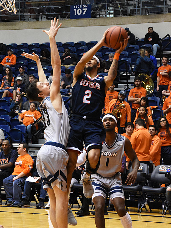 Jhivvan Jackson scored a team-high 24 points as UTSA beat Rice 95-79 on Thursday, Jan. 10, 2019, at the UTSA Convocation Center. - photo by Joe Alexander