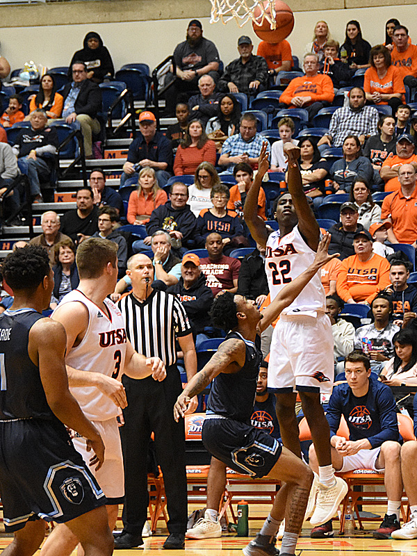 UTSA's Keaton Wallace was 9-of-15 on 3-pointers including the game winning with 15 seconds left in a 74-73 victory over Old Dominion on Saturday at the UTSA Convocation Center. - photo by Joe Alexander
