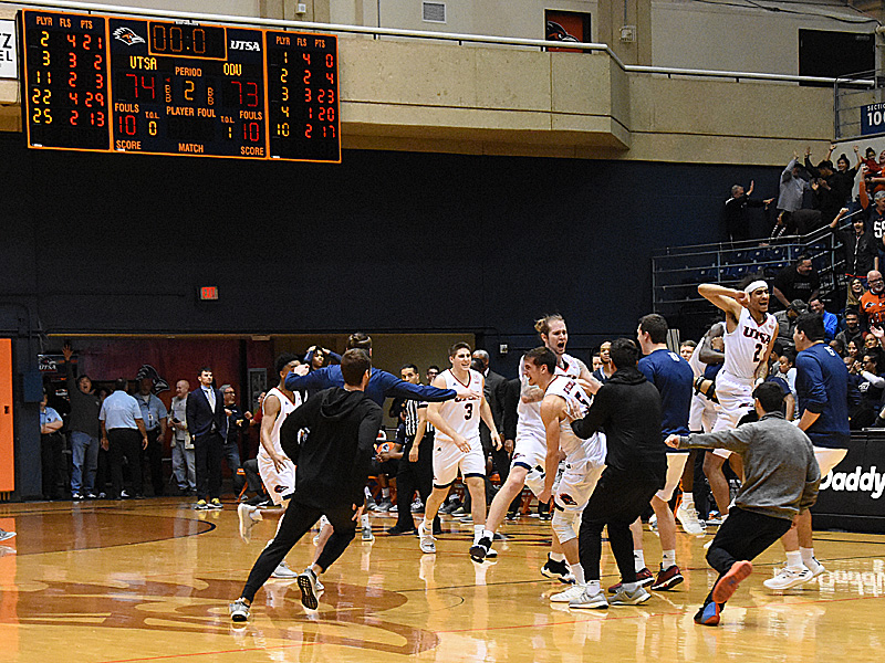 UTSA players celebrate after time runs out in the Roadrunners' come-from-behind 74-73 victory over Old Dominion on Saturday at the UTSA Convocation Center. - photo by Joe Alexander
