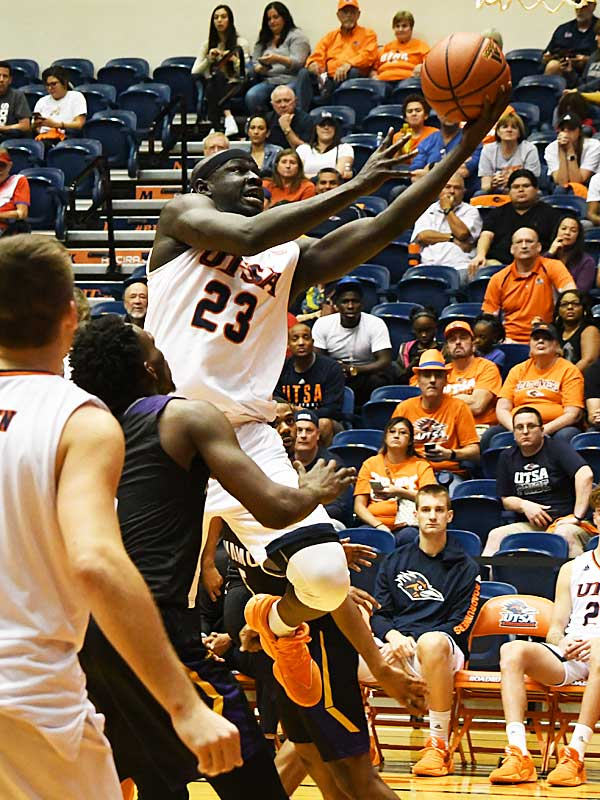 Atem Bior had 9 points and 7 rebounds. Prarie View A&M beat UTSA 79-72 on Saturday night at the UTSA Convocation Center. - photo by Joe Alexander