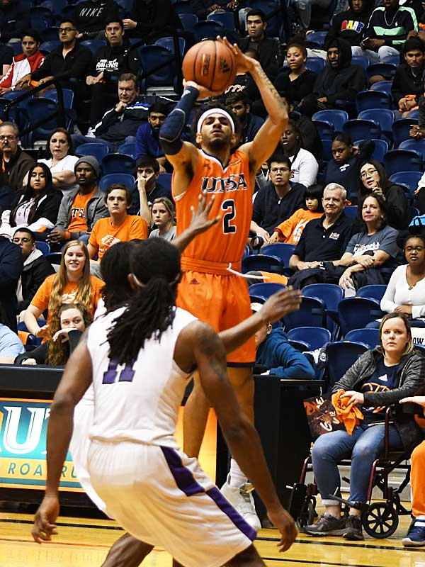 Jhivvan Jackson. UTSA beat Wiley College 90-68 on Friday in the Roadrunners' first home game of the 2019-20 men's basketball season. - photo by Joe Alexander