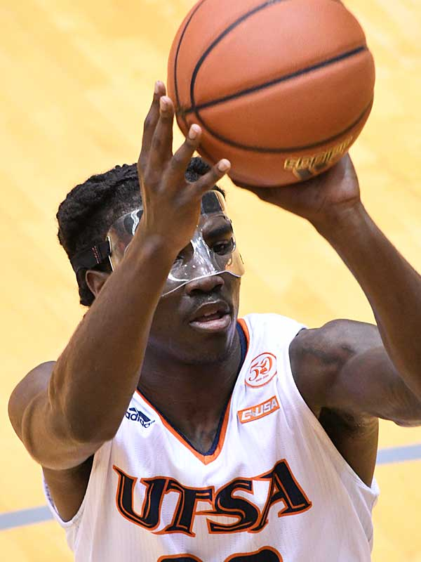 UTSA guard Keaton Wallace played in Sunday's game with a mask after being hit in the face earlier in the week. - photo by Joe Alexander