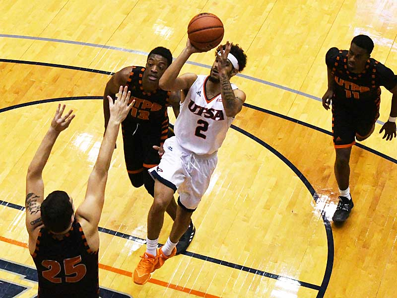 Jhivvan Jackson had 28 points and 14 rebounds as UTSA beat UT-Permian Basin 98-55 on Sunday at the UTSA Convocation Center. - photo by Joe Alexander