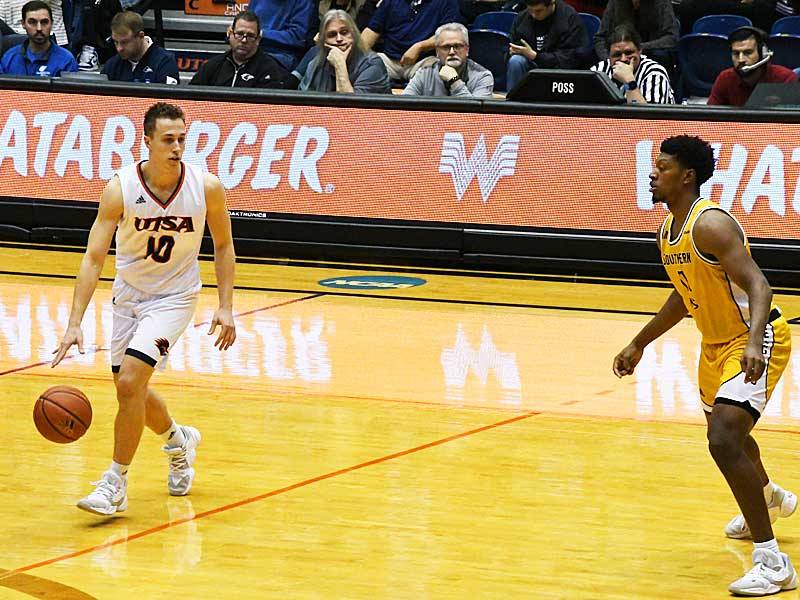 UTSA guard Erik Czumbel playing against Southern Miss on Saturday at the UTSA Convocation Center. - photo by Joe Alexander