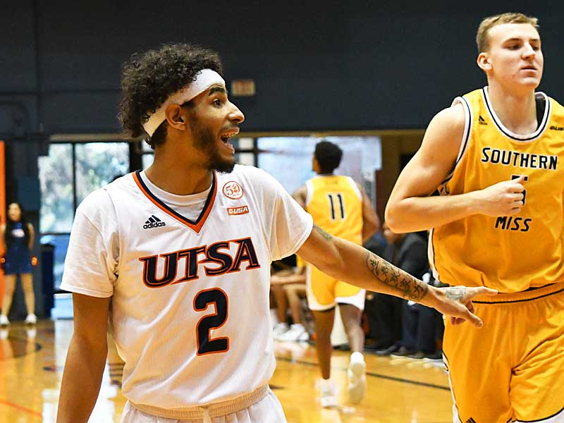 Jhivvan Jackson. UTSA beat Southern Miss 80-70 on Saturday for the Roadrunners' second straight Conference USA victory at the UTSA Convocation Center. - photo by Joe Alexander