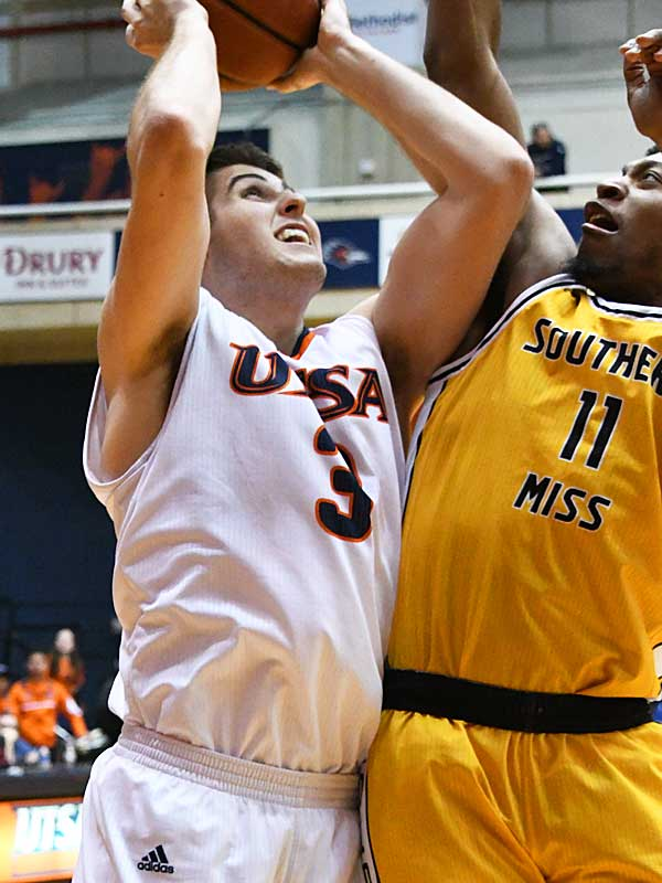 Byron Frohnen. UTSA beat Southern Miss 80-70 on Saturday for the Roadrunners' second straight Conference USA victory at the UTSA Convocation Center. - photo by Joe Alexander
