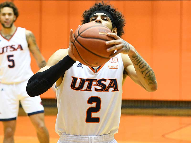 Jhivvan Jackson set the UTSA single-season scoring record with this free throw with 5:10 left in Saturday's game against Western Kentucky at the UTSA Convocation Center. - photo by Joe Alexander
