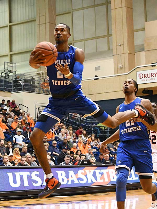C.J. Jones scored 27 points and made three free throws with 2.8 seconds left to give Middle Tennessee an 83-80 victory on Saturday at the UTSA Convocation Center. - photo by Joe Alexander