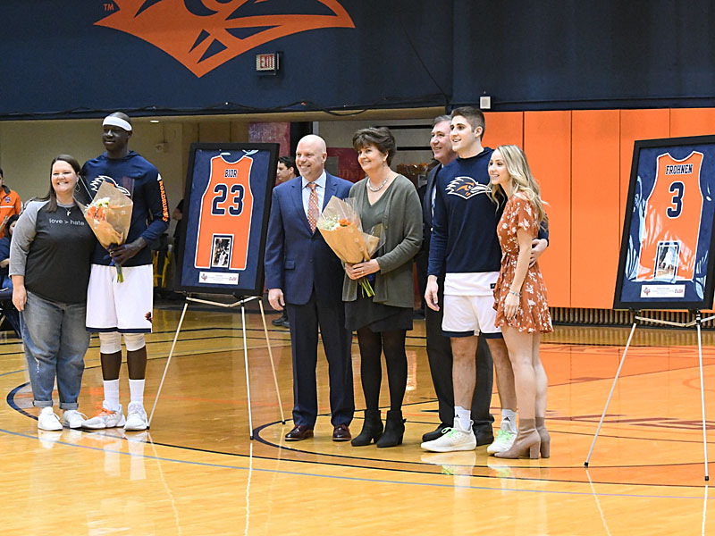 UTSA seniors Atem Bior (23) and Byron Frohnen (3) were honored Saturday at their final home game at the UTSA Convocation Center. - photo by Joe Alexander