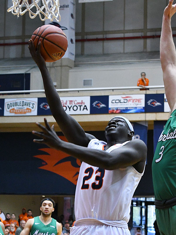 Atem Bior. UTSA lost to Marshall 82-77 Saturday in the Roadrunners' final home game of the season at the UTSA Convocation Center. - photo by Joe Alexander