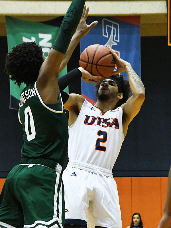 Jhivvan Jackson scored 28 points to lead UTSA past UAB on Sunday at the UTSA Convocation Center in a Conference USA bonus play game. - photo by Joe Alexander