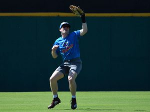 Flying Chanclas de San Antonio outfield work at Thursday's practice at Wolff Stadium. - photo by Joe Alexander