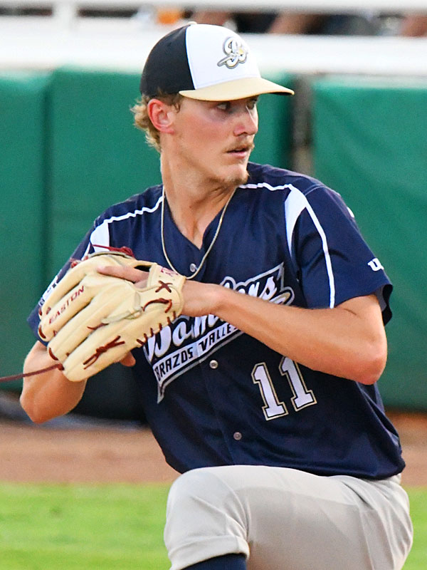 Bryce Miller from New Braunfels and Texas A&M started on the mound for the Brazos Valley Bombers and pitched three scoreless innings against the Flying Chanclas on Tuesday at Wolff Stadium. - photo by Joe Alexander