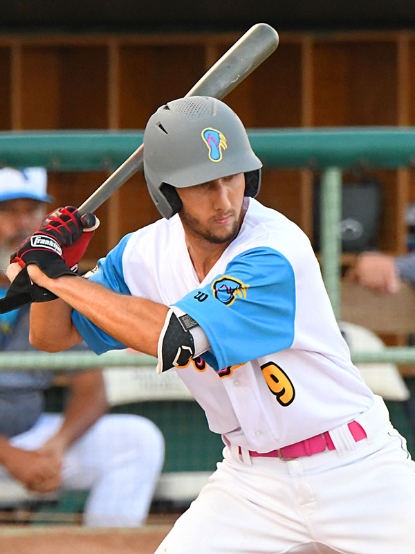Flying Chanclas catcher Eric Cervantes doubled and scored San Antonio's first run in the third inning on Friday, July 3, 2020, at Wolff Stadium. - photo by Joe Alexander