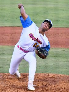 Flying Chanclas de San Antonio reliever Arturo Guarardo from UTSA pitches against the Acadiana Cane Cutters on Sunday, July 5, 2020, at Wolff Stadium. - photo by Joe Alexander