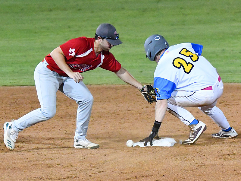 The Flying Chanclas' Kyte McDonald (right) steals second base in the eighth inning Sunday night at Wolff Stadium. McDonald scored later in the inning. - photo by Joe Alexander