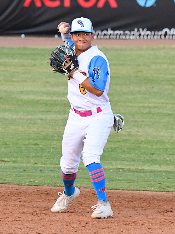 New Flying Chanclas de San Antonio infielder Bryan Aguilar started at shortstop against the Round Rock Hair Men on Friday, July 10, 2020, at Wolff Stadium. - photo by Joe Alexander