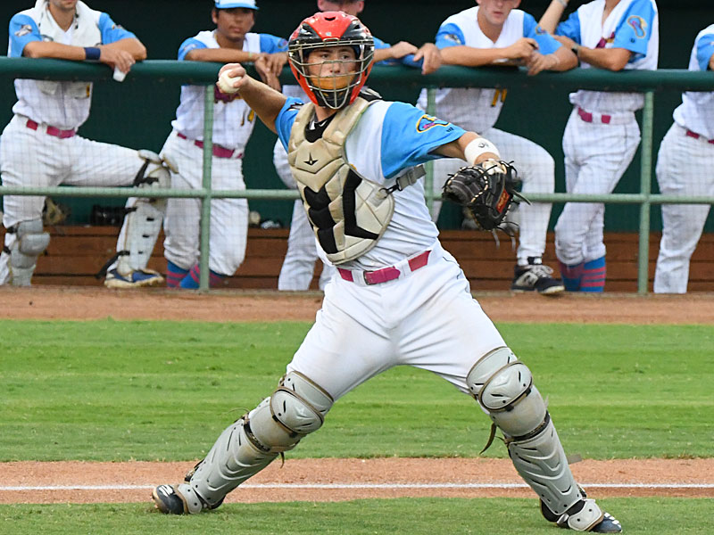 Flying Chanclas catcher Tyler LaRue throws to first on a bunt against the Victoria Generals on Sunday at Wolff Stadium. - photo by Joe Alexander