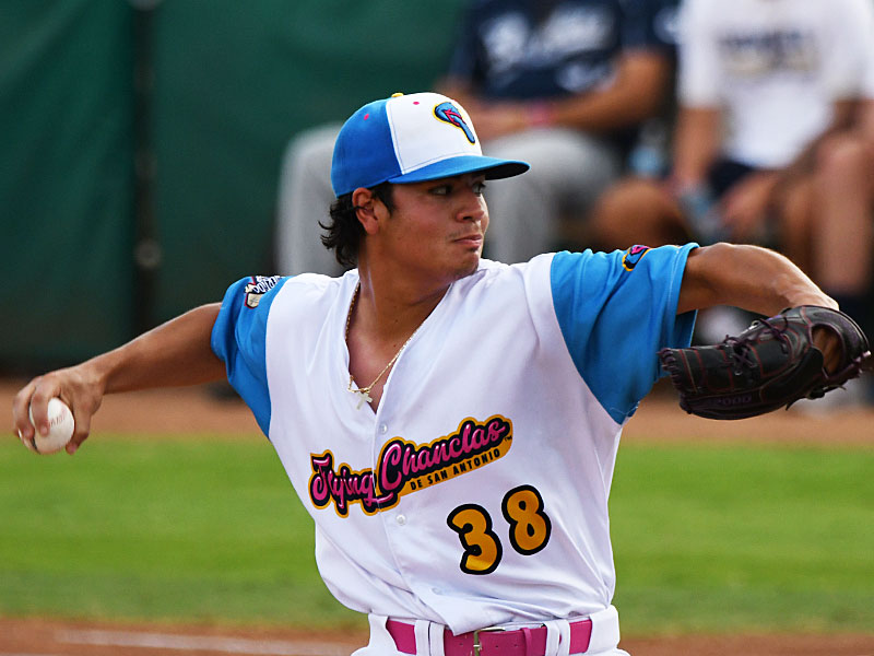 Flying Chanclas starter Marcelo Perez pitched 4.0 scoreless innings on three hits with five strikeouts and three walks on Thursday against the Brazos Bend Bombers at Wolff Stadium. - photo by Joe Alexander