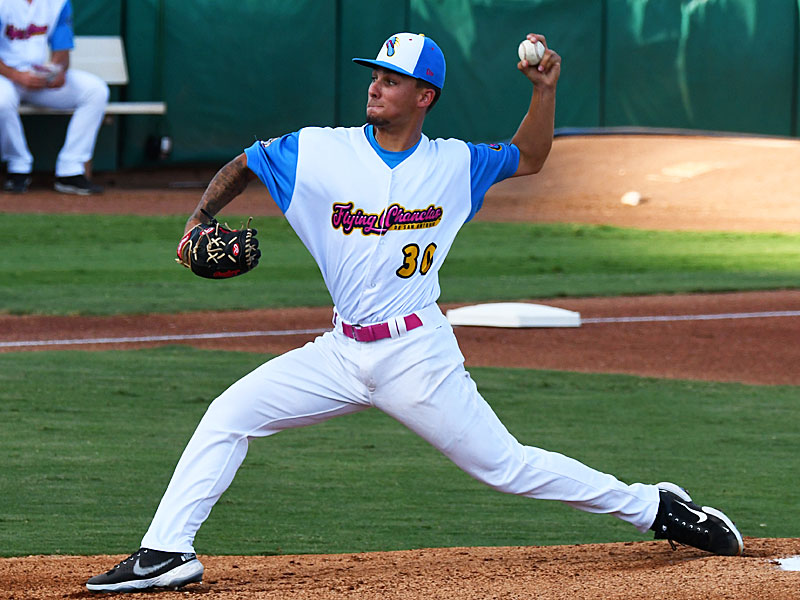 Flying Chanclas starting pitcher Logan Garza threw five innings, allowed one run and struck out eight batters to get the win against the Brazos Valley Bombers on Thursday at Wolff Stadium. - photo by Joe Alexander
