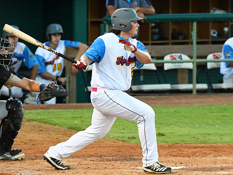 Ryan Flores doubled, had a sacrific flying and drove in three of the Flying Chanclas' four runs against the Brazos Valley Bombers on Thursday at Wolff Stadium. - photo by Joe Alexander