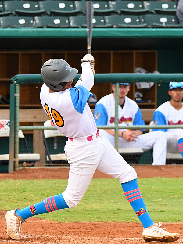 Jalen Battles doubles to left-center field to drive in the Flying Chanclas' first two runs of the game in the fourth inning against the Amarillo Sod Squad on Wednesday at Wolff Stadium. - photo by Joe Alexander