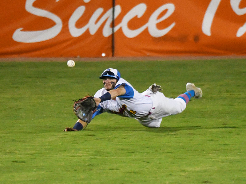 Flying Chanclas center fielder Jordan Thompson makes a diving catch on a line drive in the top of the ninth inning against the Amarillo Sod Squad on Tuesday at Wolff Stadium. - photo by Joe Alexander