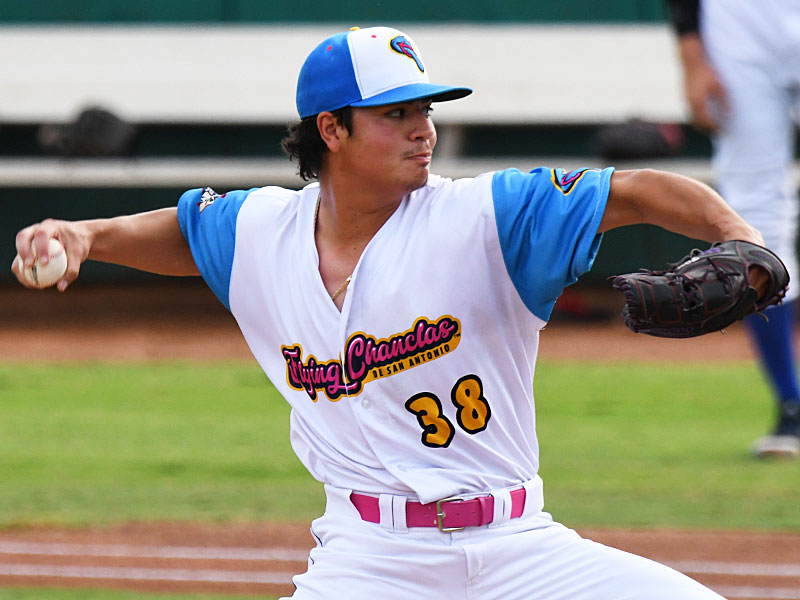Flying Chanclas starting pitcher Marcelo Perez went six shutout innings and allowed four hits with eight strikeouts and two walks against the Amarillo Sod Squad on Wednesday at Wolff Stadium. - photo by Joe Alexander