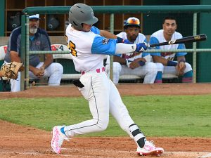 Jacob Montejano from Brandeis High School and Our Lady of the Lake started in right field for the Flying Chanclas on Thursday at Wolff Stadium. Montejano scored the Chanclas' second run of the game in the eighth inning against the Amarillo Sod Squad. - photo by Joe Alexander