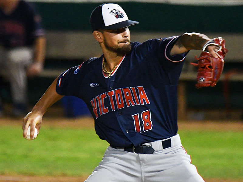 Victoria Generals relief pitcher Jose Torres from Our Lady of the Lake pitched the final three innings and got the win against the Flying Chanclas on Friday at Wolff Stadium. - photo by Joe Alexander
