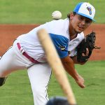 Derek Klosowski from Midland JC and Madison High School pitched the second inning for the Flying Chanclas against Texas USA on Saturday night at Wolff Stadium. - photo by Joe Alexander