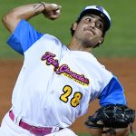 Arturo Guajardo from UTSA and Laredo United pitched the eighth inning for the Flying Chanclas against Texas USA on Saturday night at Wolff Stadium. - photo by Joe Alexander