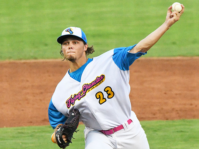 Flying Chanclas starting pitcher Austin Krob held Brazos Valley scoreless through five innings but was responsible for two runs in the sixth on Tuesday at Wolff Stadium. - photo by Joe Alexander