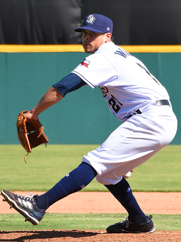 Taylor Williams pitching for the San Antonio Missions against the Oklahoma City Dodgers on April 28, 2019 at Wolff Stadium. - photo by Joe Alexander